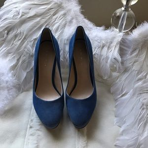 Nine West Blue Suede Platform Heels Size 6 1/2